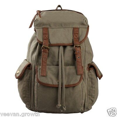 Vintage Green Canvas Hiking Rucksack Expandable Military Leather Mens Backpack