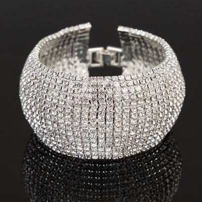 Breit Armband Manchette Strass Armreif Xl 33 mm Kette Kristall  Silber/Klar