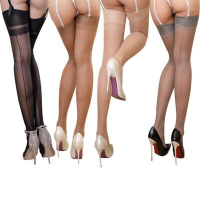 Women Back Seamed Stiletto Heel High Stockings Thigh-Highs See Through Hosiery - High Heel Sheer Stockings