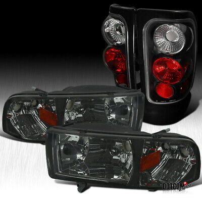 Fit 1994-2001 Dodge RAM 1500 2500 3500 Smoke Headlights+Black Tail Brake Lamps
