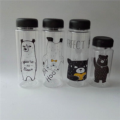 Bear Plastic Outdoor Camping Travel Sport Portable Fruit Juice Water Bottle Cup