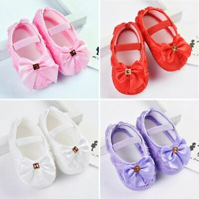 US Toddler Baby Girl Bowknot Crib Shoes Newborn Soft Sole Anti-slip Prewalker - Toddler Slip