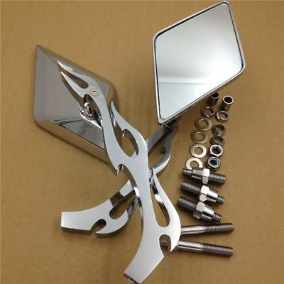 Motorcycle Diamond Flame Stem Mirrors For Harley Honda Or Metric Bike Chromed