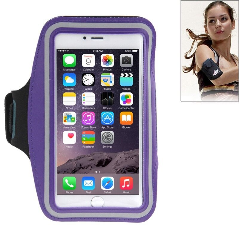 Sport Armband Joggen Tasche Schutz Hülle Case für Apple iPhone 6 Plus Lila Top