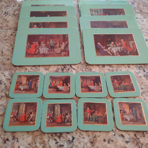 Collectible old set of placemats and coasters, antique