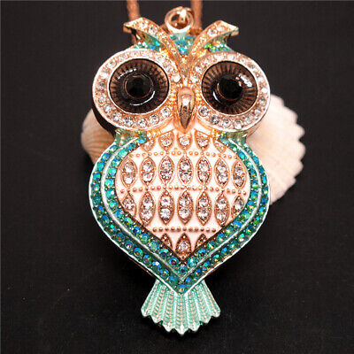 New Blue Rhinestone Cute Heart Owl Crystal Pendant Betsey Johnson Chain Necklace