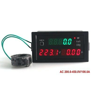 Ac200-450v 0-100a Led Panel Voltmeter Ammeter Active Power Energy Power Factor