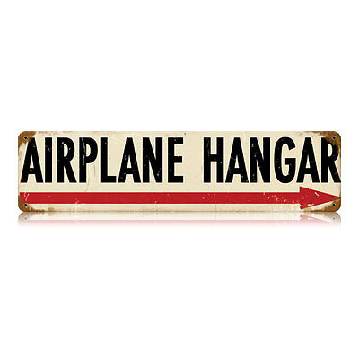 "Airplane Hangar Vintage Style Retro Right Arrow Steel Metal Sign 20"" x 5"""