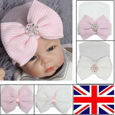 Baby Girl Infant Colorful Striped Soft Hat with Bow Cap Hospital Newborn Beanie