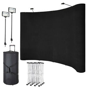 8ft Portable Display Trade Show Booth Exhibit Black Pop Up Kit Spotlights