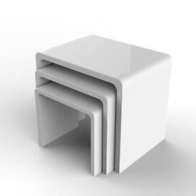 White gloss designer 3 nest coffee tables