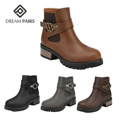 DREAM PAIRS Women's Booties Low Heels Ankle Boots Ladies Leather Casual Shoes Heel Women Ankle Boot