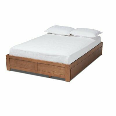Baxton Studio Wren King Size Walnut 3-Drawer Storage Bed Fra