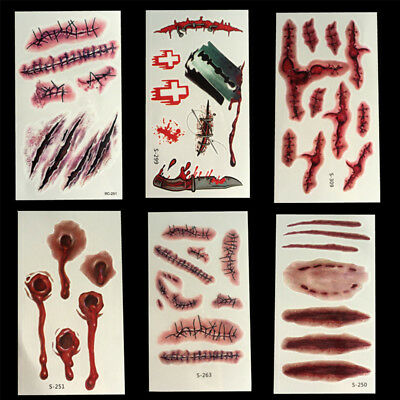 2Pcs Halloween Zombie Scars Tattoos Fake Bloody Makeup Halloween Scary Stickers