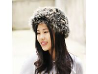 DAYMISFURRY--- Knitted Dyed Fox Fur Headband / Neck warmer