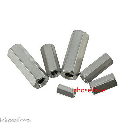 1Pc M5/M6/M8/M10/M12 304 Stainless Hexagon Coupling Nuts Threaded Rod Couplers