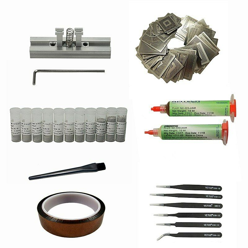 47pcs Directly Heating Stencils Fixtures BGA Reballing Kit for Game Console