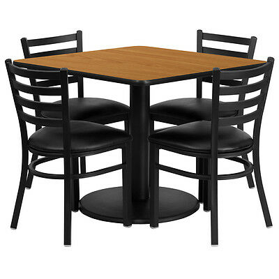 Restaurant Table Chairs 36 Natural Laminate With 4 Ladder Back Meta Vinyl Seat