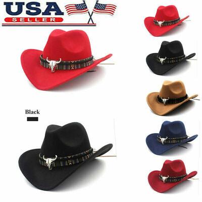 Unisex Cowboy Hat Straw Sunhat Wide Brim Western Cowgirl Beach Sun Caps Hat NEW Brim Straw Cowboy Hat