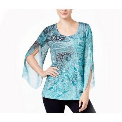 (JM Collection Paisley-Print Split Angel Slee Teal Whirl PXL)