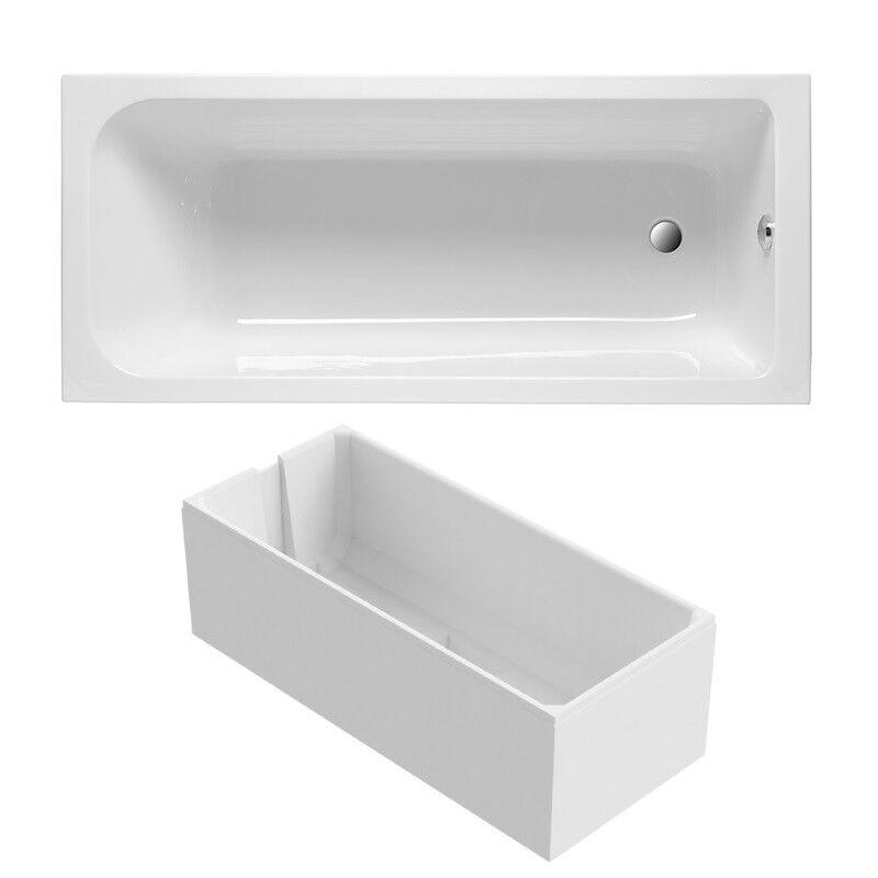 Badewanne Acryl weiß (SET) inklusive Wannenträger und Ablaufgarnitur verchromt