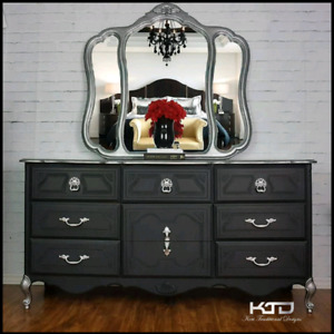 Large Glamorous Dresser with Mirror  - Ajax