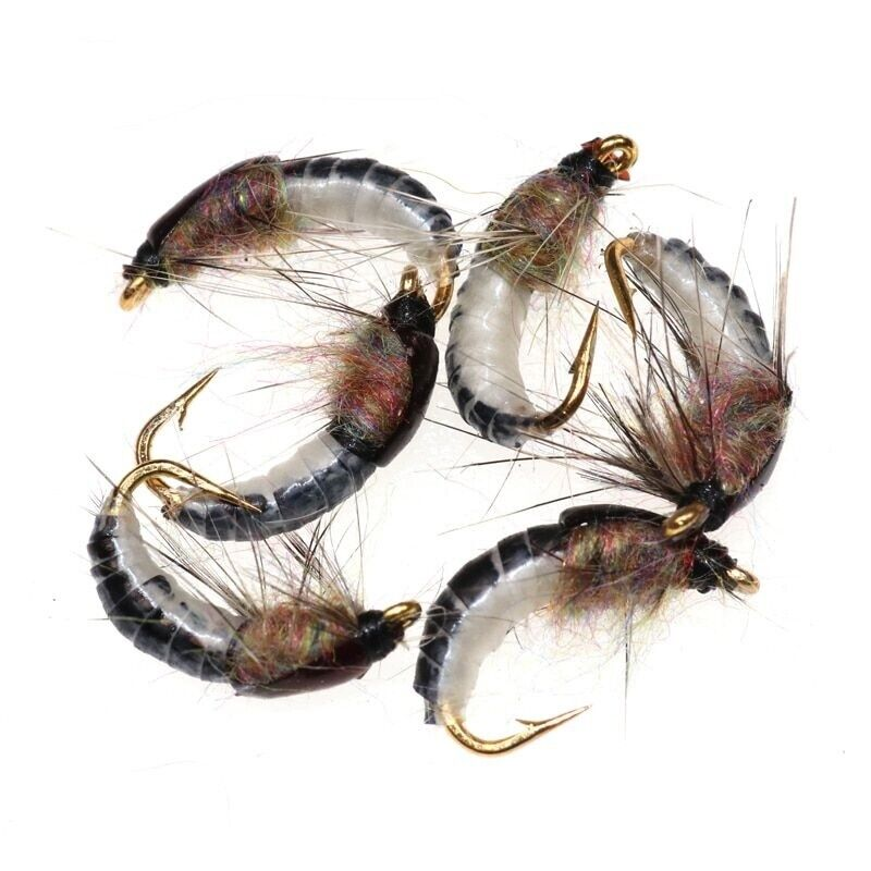 6PCS Realistic Nymph Scud Fly for Trout Fishing Nymphing Artificial Insect Bait