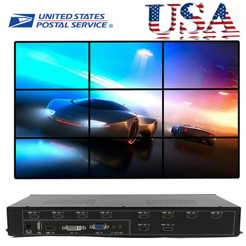 9 Channel TV Video Wall Controller 3x3 2x4 HDMI DVI VGA USB Video Processor USA