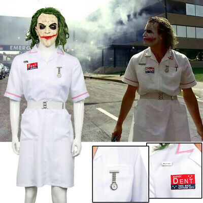 Batman Joker Nurse White Uniform The Dark Knight Cosplay Halloween Clown Costume