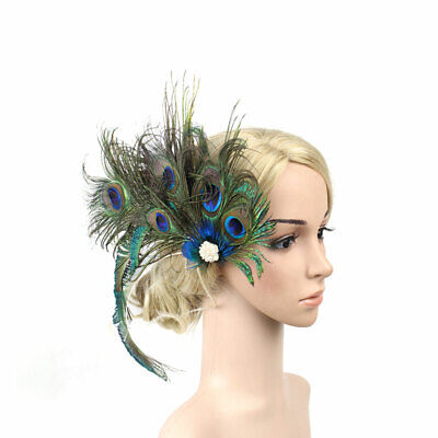 Women Peacock Feather Clip Wedding Party Fascinator Bridal Hair Tiara Hairpin (Peacock Fascinator)