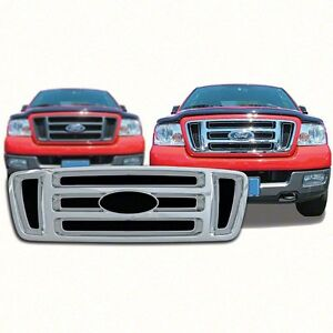 chrome grille overlay fits 2004 2008 ford f150 f 150 xl. Black Bedroom Furniture Sets. Home Design Ideas