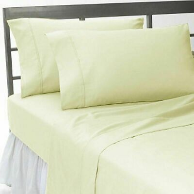 500 TC Best Egyptian Cotton Ivory Solid US Queen Size Bed Sheet Set