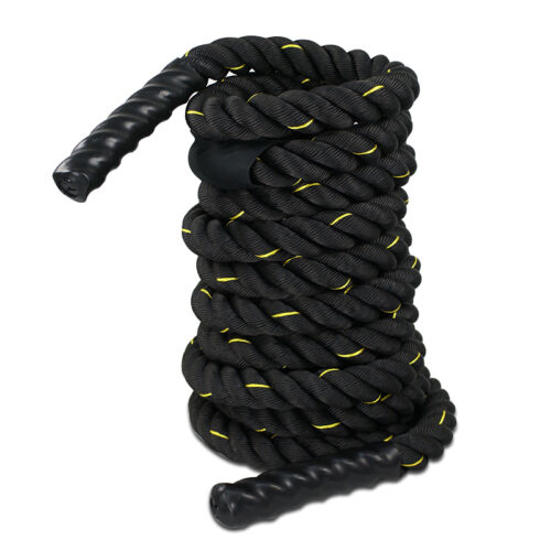 1.5″ 50FT Poly Dacron Battle Rope Exercise Workout Strength Training Black Fitness, Running & Yoga