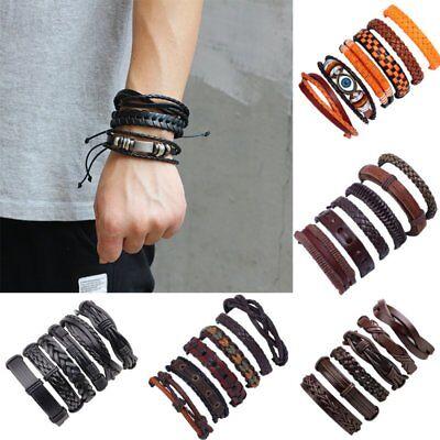 - 6pcs Fashion Mens Punk Leather Wrap Braided Wristband Cuff Punk Bracelet Bangle