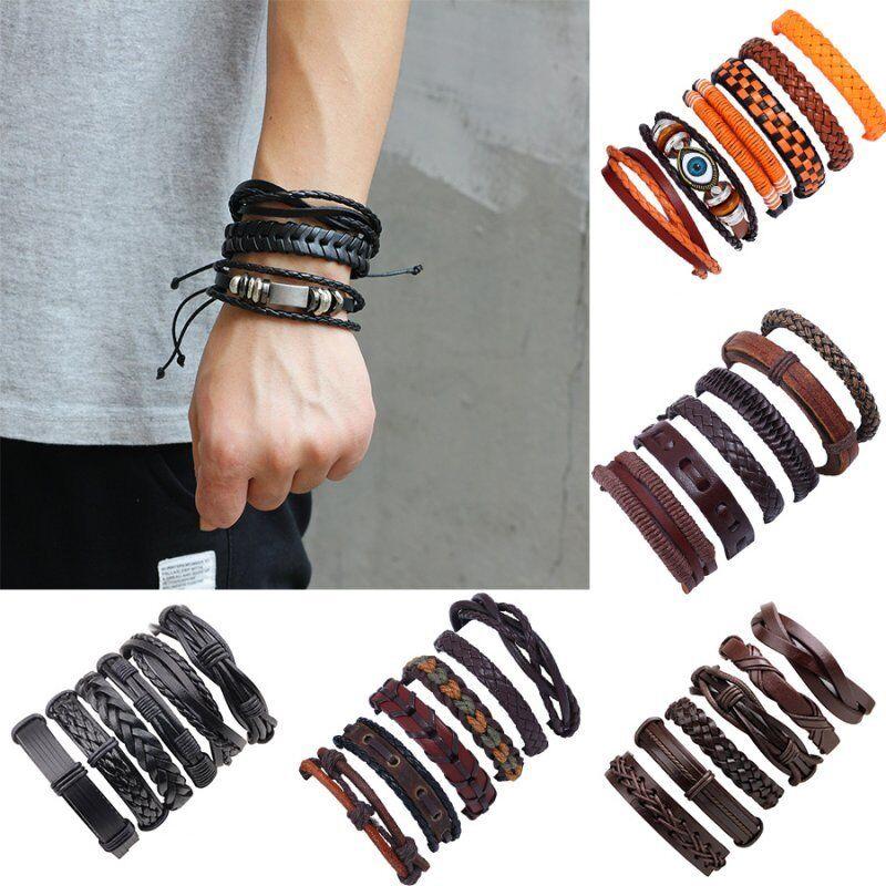 6pcs Fashion Mens Punk Leather Wrap Braided Wristband Cuff P