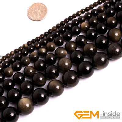 Natural Stone Golden Obsidian Round Beads For Jewelry Making 15