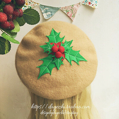 Chirstmas Hat (Vintage Mori Girl Elegant Sweet Lolita Chirstmas Warm Cute Beret Cap Painter)