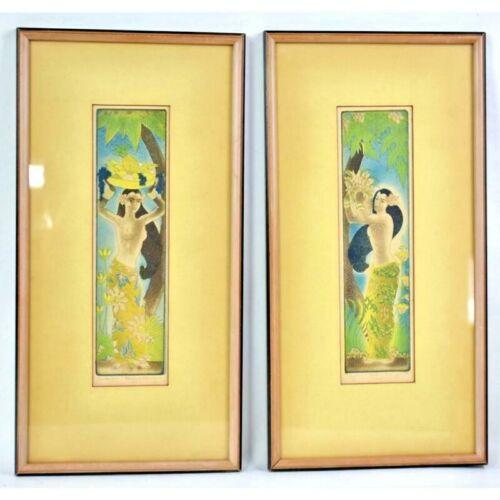 ORIGINAL MARGARET ANN GAUG (1909 -1994) CHICAGO ARTIST HULA GIRL PAINTINGS