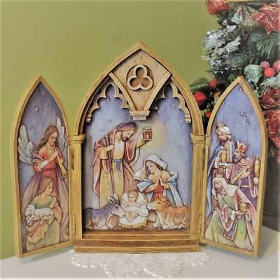 - Nativity Set Scene Tryptych 11 inch Doors Open Reveal Baby Jesus Kings Triptych