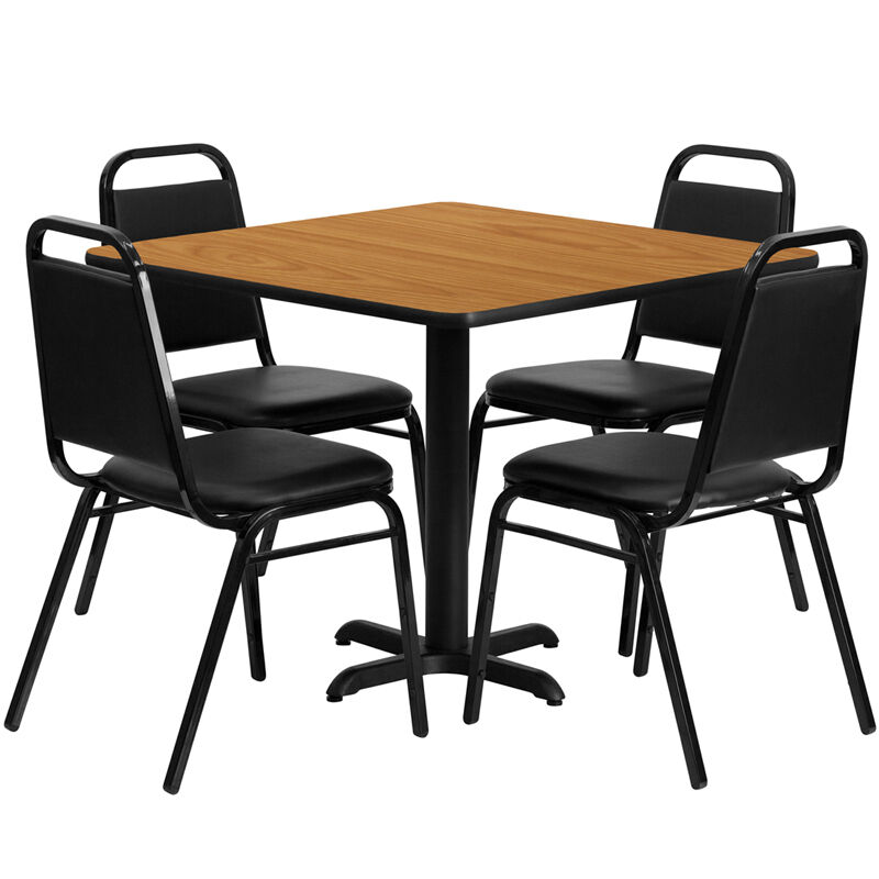 """Restaurant Table Chairs 36"""" Natural Laminate with 4 Trapezoidal Back Banquet"""