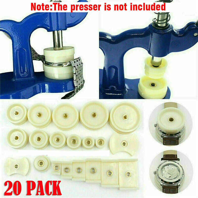 20Pcs Watchmaker Tool Watch Press Set Back Case Closer Crystal Glass Repair Dies