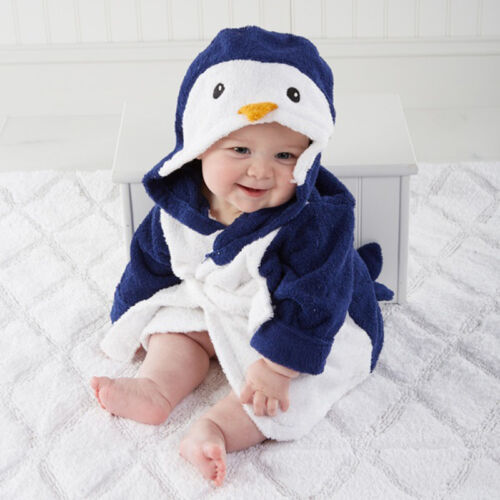 Boy Girl Animal Baby Bathrobe Hooded Bath Towel Infant Bathing Honey Baby US