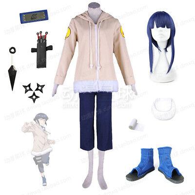 Anime Hyuga Hinata Cosplay  Women Kids Costume Wig Halloween Full Set Outfits  - Hinata Hyuga Halloween Costume