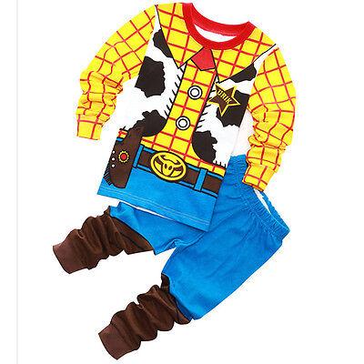 Buzz Woody Sheriff Cowboy Costume Pajama Set Kids Boys Clothing - Kid Cowboy Costume