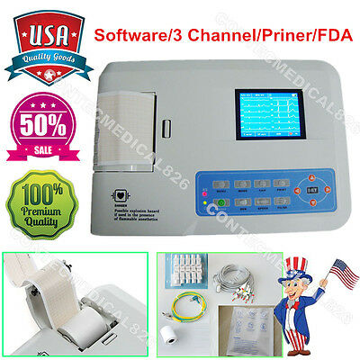 Us Contec Electrocardiograph Ecg Ekg Machine 3 Channelsoftwareprinter Ecg300g