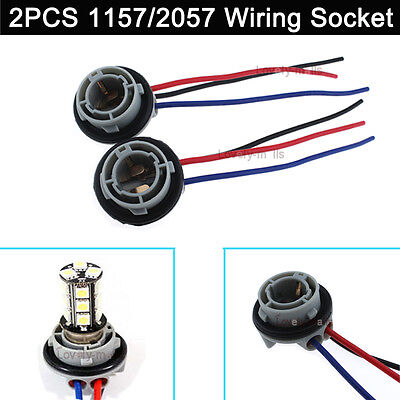 2x Hot Sell 1157 2057 2357 Replacement Sockets Plugs Extened Wiring Harness New ()