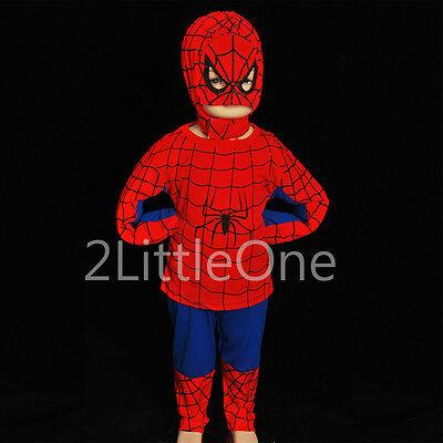 Spiderman Superhero Boy Halloween Fancy Party Costume Toddler Size 3T-8 - 3t Spiderman Costume