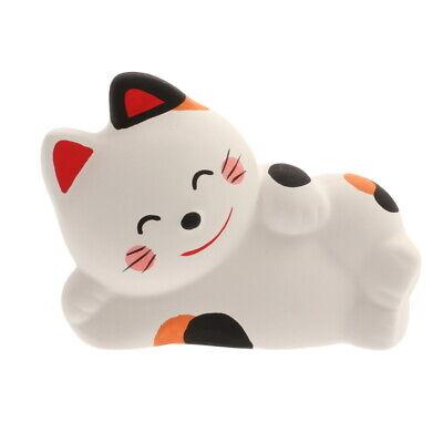 "Japanese White Maneki Neko Calico Cat Naps 3.5""L Earthenware Made in Japan"