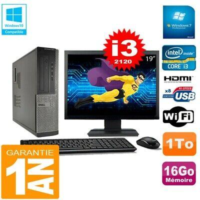 PC DELL 3010 DT Core I3-2120 Ram 16Go Disque 1 To Wifi W7 Ecran 19