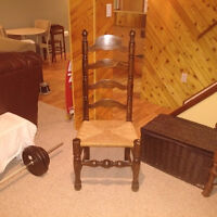 4 Tall Shaker style chairs with rattan seats